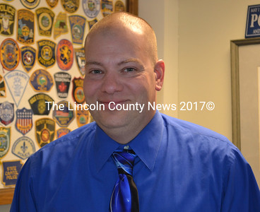 Wiscasset Police Chief Jeffrey Lange on his first day on the job, Monday, May 16. (Abigail Adams photo)