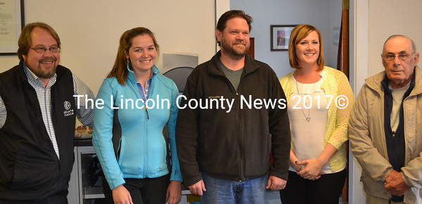 From left, Wiscasset School Committee Chair Steve Smith, members Chelsea Haggett and Michael Dunn, Superintendent Heather Wilmot, and member Eugene Stover smile after approving a new union contract with the Wiscasset Teachers' Association on Monday, May 16. (Abigail Adams photo)