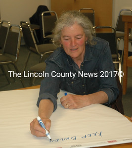 Barbara Boardman lists some of her working group's ideas for the A.D. Gray building during a meeting at the Waldoboro town office Tuesday, May 17. (Alexander Violo photo)