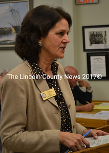 Gail Kezer, a representative of U.S. Sen. Angus King, voices support for Wiscasset's efforts to have spent nuclear fuel removed from town at the Wiscasset Board of Selectmen's Tuesday, May 17 meeting. (Abigail Adams photo)