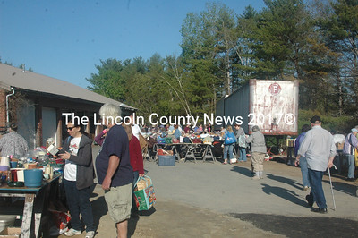 Opening-day shoppers at the Miles Memorial Hospital League mini rummage sale started arriving at 6 a.m., numbering in the hundreds before the day was over. (Eleanor Cade Busby photo)