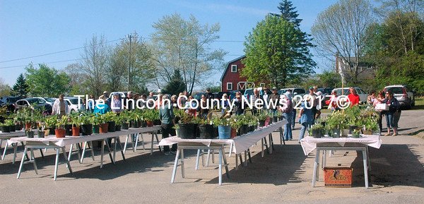 "Gardeners lined up early on Saturday for the plant sale at the Bremen Library. The local version of the ""run for the roses"" drew plant lovers of many skills and interests to benefit the library. (Eleanor Cade Busby photo)"