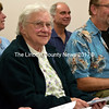 Arlene Cole attends a meeting of the Newcastle Board of Selectmen at the town office Monday, June 13. The selectmen surprised the stalwart volunteer with their announcement of their dedication of the annual town report in recognition of her service. (J.W. Oliver photo)