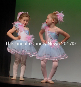 "Josee Winston-Feder (left) and Autumn Brewer danced in the number ""Birthday Cake"" at the Midcoast Dance Studio recital Saturday, June 18. (Eleanor Cade Busby photo)"