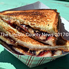 A grilled peanut-butter-and-jelly sandwich with pork belly. The sandwich was a special order, but the menu at Twisted Iron Grille contains other unusual choices, like a lobster sausage. (J.W. Oliver photo)