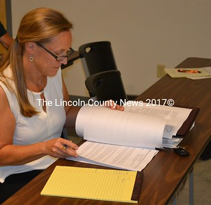 Town attorney Mary Denison reviews U.S Cellular's application for a cellphone tower on Townhouse Road during a Whitefield Planning Board meeting Wednesday, Sept. 14. (Abigail Adams photo)
