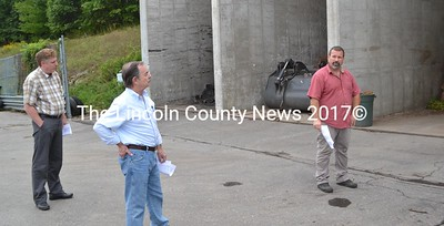 From left: Wiscasset Selectmen Jeff Slack and David Cherry tour the Wiscasset Regional Transfer Station with Superintendent Ron Lear on Monday, Sept. 19. (Abigail Adams photo)
