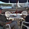 """Boothbay Harbor veteran Palmer Payne (left) gave the veterans cruise high praise, saying the event was """"magnificent"""" and the planning and generosity of the event was breathtaking. Payne will be a guest speaker at a lobstermen's appreciation dinner at the Boothbay American Legion post Oct. 15. Veteran Arthur Richardson (right) agreed that the cruise and the generosity of the volunteers was wonderful, and very much appreciated by the veterans. (Charlotte Boynton photo)"""