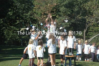 Damariscotta Montessori School students decorate a tree with paper cranes during their observation of the International Day of Peace. (Alexander Violo photo)