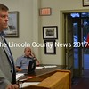 Maine Department of Transportation Bureau of Project Development Director Bill Pulver (left) and DOT Project Manager Ernie Martin speak with the Wiscasset Board of Selectmen about the downtown improvement project Tuesday, Sept. 20. (Abigail Adams photo)