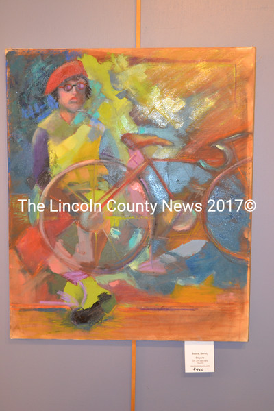 """""""Boots, Beret, Bicycle,"""" an unframed oil painting by Carol Wiley. (Christine LaPado-Breglia photo)"""
