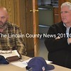 Maine Department of Transportation officials Dale Doughty (left) and James Andrews attend the Edgecomb Board of Selectmen's Monday, Sept. 26 meeting to discuss the future of the DOT lot on Route 1 in Edgecomb. (Abigail Adams photo)