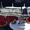 From left: Bill Myers, of Chelsea, a U.S. Army and U.S. Coast Guard veteran, and Edward Clark, of Edgecomb, a U.S. Air Force veteran, enjoy lunch on the deck of the Tugboat Inn. (Charlotte Boynton photo)