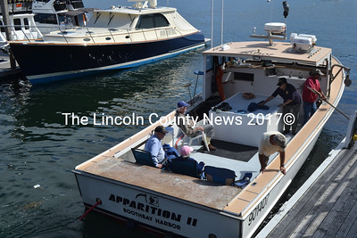 Billy Halliman's Apparition II lobster boat pulls into the Tugboat Inn dock to drop off veterans after a cruise around Boothbay Harbor. (Charlotte Boynton photo)
