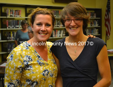 Wiscasset School Department Superintendent Heather Wilmot (left) and Director of Special Services Jess Yates attend the Wiscasset School Committee's Thursday, Sept. 22 meeting. (Abigail Adams photo)