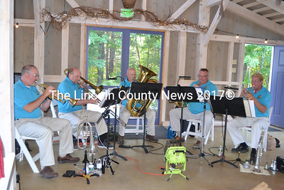 The Downeast Brass Quintet entertains guests at the Bands for Books fundraiser at the Marianmade Farm in Wiscasset on Sunday, Sept. 4. (Charlotte Boynton photo)