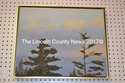 """Bev Walker's serene oil painting titled """"Popcorn Clouds"""" is one of four large oils by the Chamberlain resident hanging at Pemaquid Art Gallery. (Christine LaPado-Breglia photo)"""