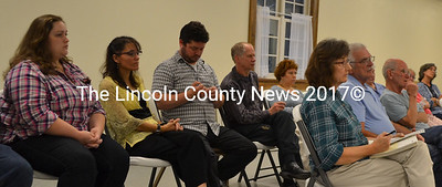 Dresden residents attend a public hearing about a medical marijuana greenhouse in Pownalborough Hall in Dresden on Tuesday, Sept. 6. The Dresden Planning Board approved a permit for the greenhouse. (Maia Zewert photo)