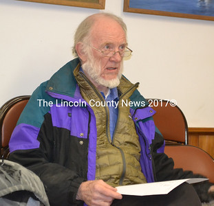 RSU 12 Board of Directors member Richard DeVries tells the Westport Island Board of Selectmen the town's assessment for about 50 students will increase by about 3 percent in the 2017-2018 budget. (Charlotte Boynton photo)
