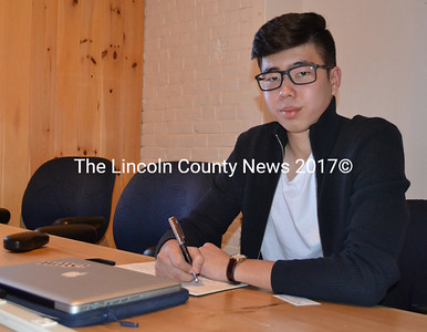 Lincoln Academy junior Asset Alibekov founded the Lincoln Academy Business Club in an effort to share his passion for entrepreneurial studies with other students. On Saturday, Jan. 28, the community has a chance to attend the club's first business talk at Buzz Maine. (Maia Zewert photo)
