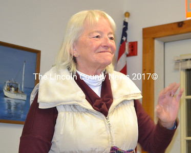 Former Westport Island Administrative Assistant Susan Partelow makes a surprise visit to the selectmen's meeting Monday, Jan. 23. (Charlotte Boynton photo)