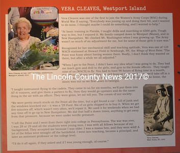 "A poster on the wall of the Maine Historical Society Museum in Portland tells the story of World War II veteran Vera Cleaves in her own words. The late Westport Island resident's story accompanies those of nine other veterans as part of the society's ""Veterans' Voices"" exhibit. (Charlotte Boynton photo)"