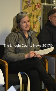 Midcoast Conservancy Executive Director Jody Jones speaks with the Alna Board of Selectmen about the tax status of conservation land. (Abigail Adams photo)