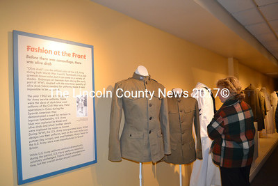 "The Maine Historical Society's ""World War I and the Maine Experience"" exhibit includes WWI uniforms. (Charlotte Boynton photo)"