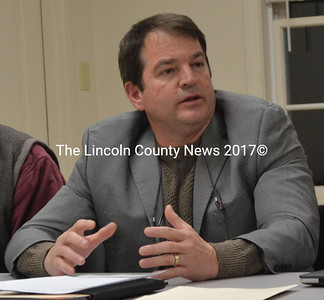 Maine Transportation Commissioner David Bernhardt speaks during a meeting with Newcastle town officials and local property owners in the community room of the Newcastle fire station Dec. 12, 2016. (Maia Zewert photo, LCN file)