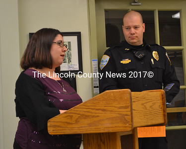 Ward Brook Road resident Holly Giles speaks in favor of a disorderly housing ordinance as Wiscasset Police Chief Jeff Lange looks on during a meeting of the Wiscasset Board of Selectmen on Tuesday, Jan. 3. (Abigail Adams photo)