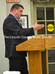 Chris Backman, of RHR Smith, addresses the Wiscasset Board of Selectmen on Tuesday, Jan. 3. (Abigail Adams photo)