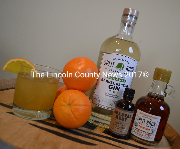 The ingredients for Barrel Rested Gin & Maple Syrup. (Maia Zewert photo)