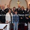 The Congregational Church of Bristol honored local first responders during a special service Sunday, Nov. 19. From left: Bristol Fire and Rescue 1st Assistant Chief Jared Pendleton; the Rev. James P. Dowse, pastor of the Congregational Church of Bristol; Chaplain and Safety Officer Breck Holladay; Capt. Katie Corson; RoseAnne Holladay; Hannah Corson; Jason Corson; Chief Paul Leeman Jr.; Treasurer Tammy Holmes; EMS Service Chief Jeri Pendleton; 2nd Assistant Chief Tim Miller; Derek Booker, of the Central Lincoln County Ambulance Service; and former Chief Ron Pendleton. (J.W. Oliver photo)