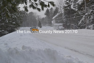 Biscay Road belongs to the plow trucks on Monday, Feb. 13, after a blizzard drops more than a foot of snow on Lincoln County. (Abigail Adams photo)