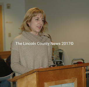 Waldoboro Planning and Development Director Emily Reinholt discusses a recent county workshop on the legalization of marijuana and its impacts on Maine municipalities. (Alexander Violo photo)