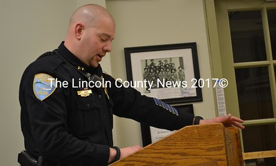 Wiscasset Police Chief Jeffrey Lange speaks to selectmen about granting the department's full-time officers the authority to make arrests outside of Wiscasset at the Tuesday, Feb. 14 board of selectmen meeting. (Abigail Adams photo)