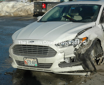 A Ford sedan and a Subaru station wagon were damaged in an accident at the intersection of Route 1 and East Pond Road in Nobleboro the afternoon of Monday, Feb. 20. No injuries were reported. (Alexander Violo photo)