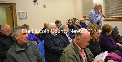 Anton Lahnston, of Damariscotta, speaks during a public hearing about the Bristol Road sidewalk project Wednesday, Feb. 15. (Maia Zewert photo)