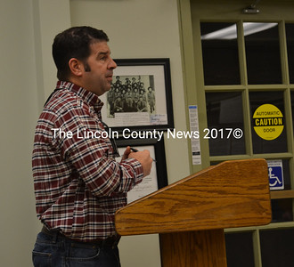 Wiscasset Parks and Recreation Director Todd Souza addresses the Wiscasset Board of Selectmen at the town office Tuesday, Feb. 21. (Abigail Adams photo)