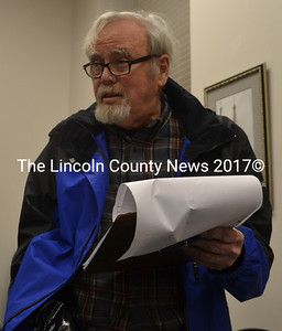 Bristol Road resident Bob Piper speaks about the speed limits on the road during the Damariscotta Board of Selectmen's meeting Wednesday, Feb. 15. (Maia Zewert photo)