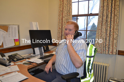 Lincoln County Emergency Management Agency Director Casey Stevens takes a call in his new office at the Lincoln County Courthouse. The agency's relocation is one of several changes in progress at the courthouse. (Charlotte Boynton photo)