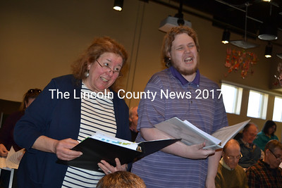 "Zora Margolis, who plays Mrs. Brill, and Ben Proctor, who plays multiple parts, belt out a tune at a recent run-through of Lincoln County Community Theater's ""Mary Poppins,"" which opens at Lincoln Theater in Damariscotta on Friday, March 17. (Christine LaPado-Breglia photo)"