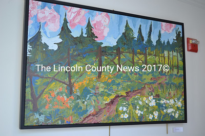 """In the Garden"" is one of a number of large landscape paintings by Belfast artist Jon Byrer on display in The Carey Gallery at Skidompha Public Library in Damariscotta. (Christine LaPado-Breglia photo)"