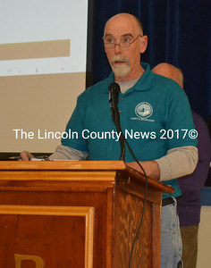 Bristol Parks and Recreation Commission Chair Clyde Pendleton Sr. talks about the parks director position during the annual town meeting at Bristol Consolidated School on Tuesday, March 21. (Maia Zewert photo)