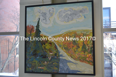 "Jon Byrer's oil-enamel painting ""Good First Day"" hangs in front of the windows in The Carey Gallery at Skidompha Public Library. (Christine LaPado-Breglia photo)"