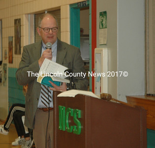 AOS 93 Superintendent Steve Bailey answers questions about the education budget during Nobleboro's annual town meeting at Nobleboro Central School on Saturday, March 18. (Alexander Violo photo)
