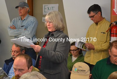 Alna Planning Board member Beth Whitney presents the consumer fireworks ordinance that has been in development for the past two years at the annual town meeting Saturday, March 18. (Abigail Adams photo)