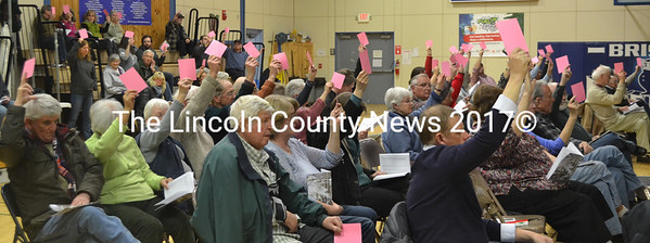 Bristol residents vote on the education budget during the annual town meeting at Bristol Consolidated School on Tuesday, March 21. (Maia Zewert photo)