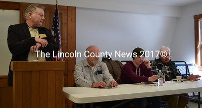 From left: moderator Carl Pease and Selectmen David Abbott, Melissa Spinney, and Doug Baston oversee Alna's annual town meeting Saturday, March 18. (Abigail Adams photo)