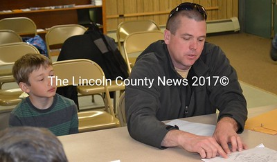 Ben Ellinwood and son Damon present plans to expand Rock Solid Storage to the Edgecomb Planning Board on Thursday, March 16. (Abigail Adams photo)